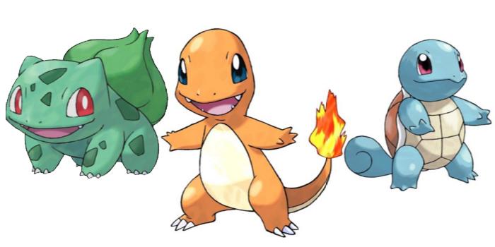 Pokemon gen 1 Starters - Bulbasaur / Charmander / Squirtle / Pikachu