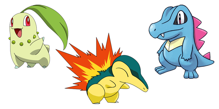 Pokemon gen 2 Starters - Chikorita / Cyndaquil / Totodile