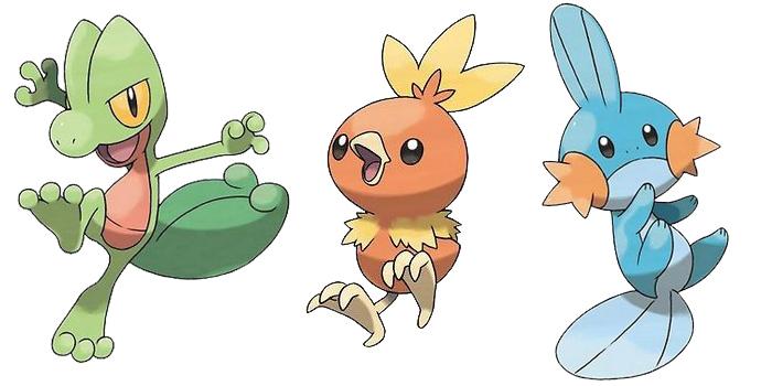 Pokemon gen 3 Starters - Treecko / Torchic / Mudkip