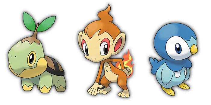 Pokemon gen 4 Starters - Turtwig / Chimchar / Piplup
